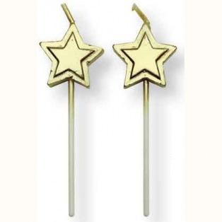 Bougies étoiles dorées- 8pc-PME