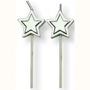 Bougies étoiles argentées - 8pc - PME