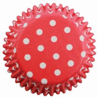 Caissettes à mini cupcakes - Polka - Rouge à pois - 100pc - PME