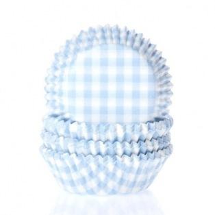 Mini Baking Cups Gingham Pastel Blue - Pk/60 - HoM