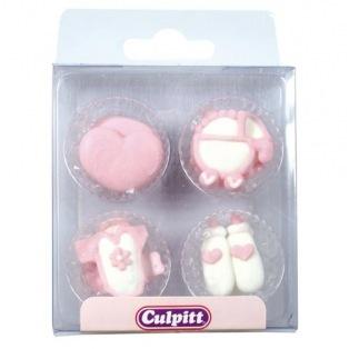 12 Décorations en sucre rose Baby Shower