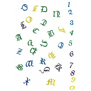 Alphabet and numbers cutter set - Old English - FMM