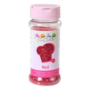 Coloured Sugar - Red - 80g - Funcakes