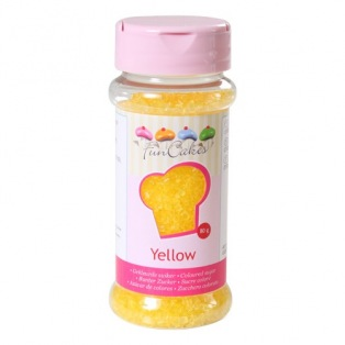 Coloured Sugar Yellow 80g Funcakes