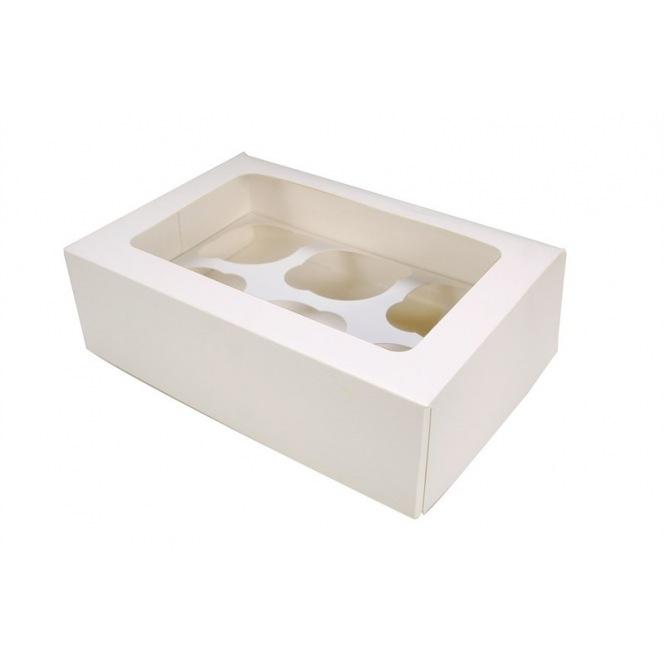 Boîte à 6 cupcakes blanche