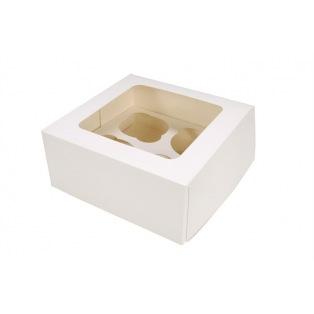 Boîte à 4 cupcakes blanche