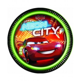 8 paper plates - Cars Neon City