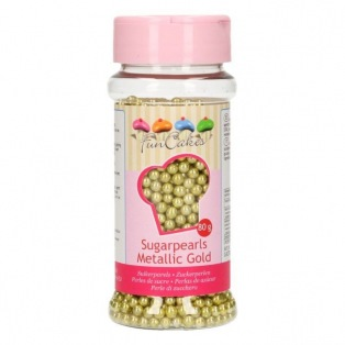Perle en sucre - Doré métallique - 4mm -FunCakes 80g