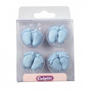 12 Décorations en sucre pieds de bébé bleu - Culpitt
