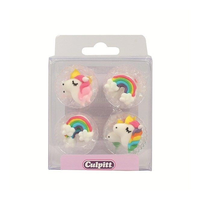 Unicorn & Raibow  Sugar Decorations - 12pc- Culpitt