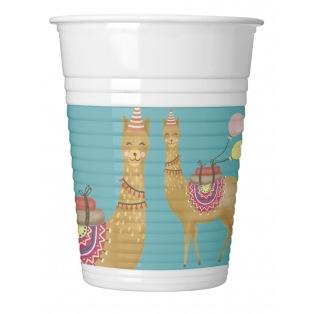 8 Plastic Cups - Llama