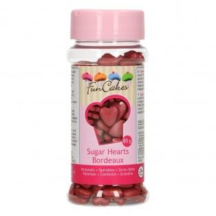 FunCakes Sugar Hearts Burgundy 80g