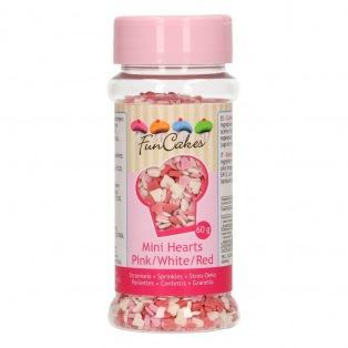 Mini coeurs Rose/Blanc/Rouge comestibles Funcakes 60g