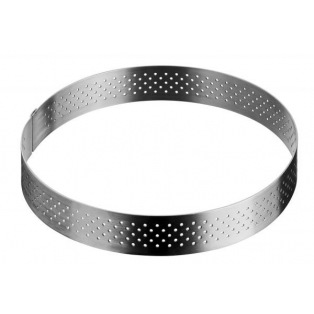 Stainless Steel Perforated tart ring 15.5cm - De Buyer
