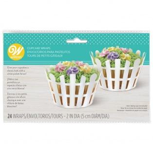 Picket Fence Cupcake Wraps - 24 pcs - Wilton