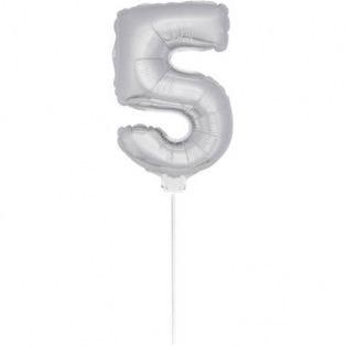 Mini Silver Balloon Number 5