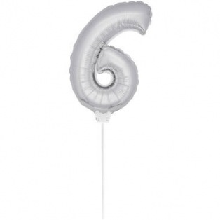 Mini Silver Balloon Number 6