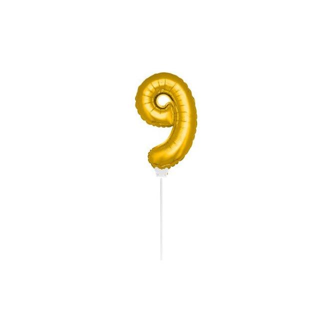 Mini Golden Balloon Number 9