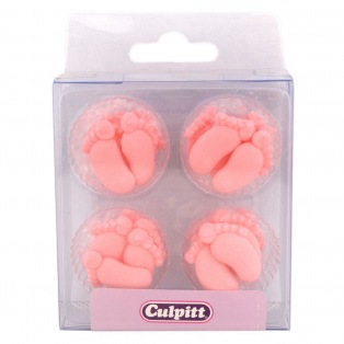 12 Décorations en sucre pieds de bébé rose - Culpitt