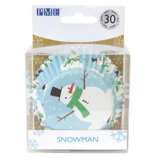 Caissettes aluminium bonhomme de neige - 30pcs - PME