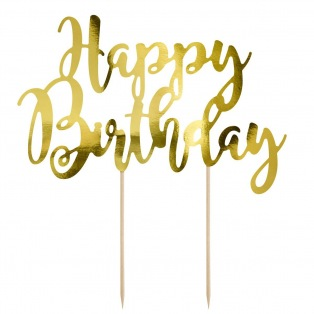 Cake Topper Happy Birthday - Doré - PartyDeco