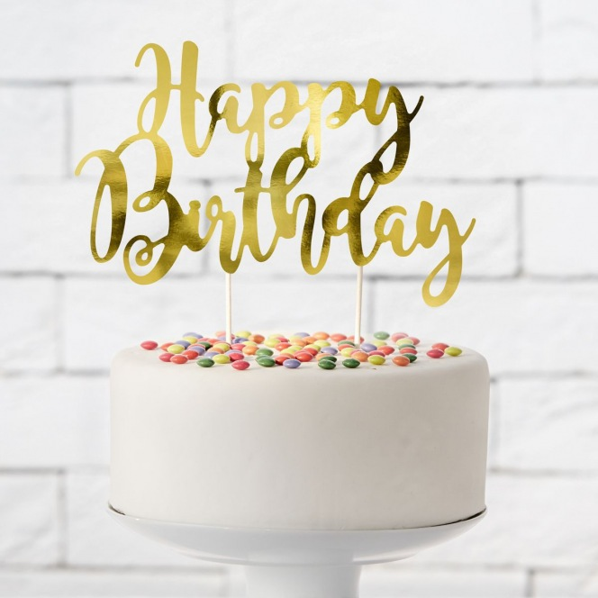 Cake topper Happy Birthday - Gold - PartyDeco