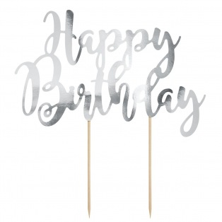 Cake Topper Happy Birthday - Argenté - PartyDeco