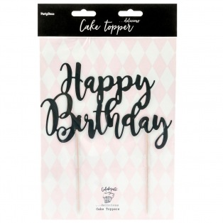 Cake topper Happy Birthday - Black - PartyDeco