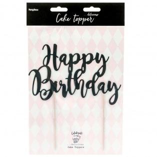 Cake Topper Happy Birthday - Noir - PartyDeco