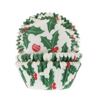 Caissettes à cupcakes - Feuilles de houx - 50 pces - HoM
