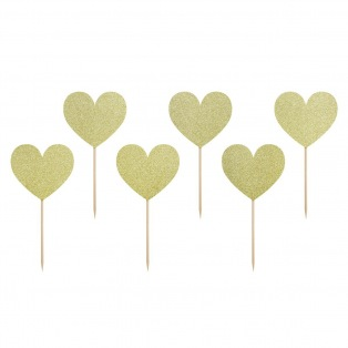 Cupcake Toppers - Sweet Love Gold 6pcs - PartyDeco