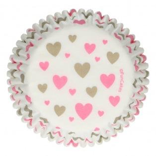 Caissettes à cupcakes Coeurs - 48pcs - Funcakes