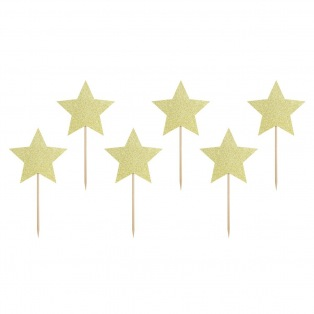 Toppers à cupcakes - étoiles dorées - 6pc - PartyDeco
