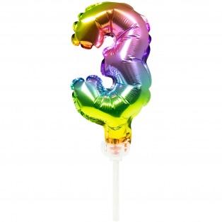 Cake topper ballon Chiffre 3 - 13cm - Folat