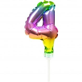 Cake topper ballon Chiffre 4 - 13cm - Folat