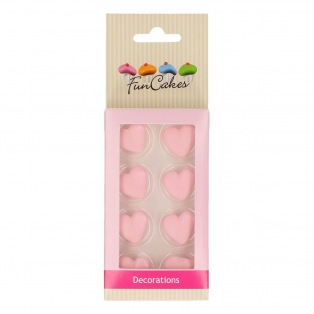 Sugar Decorations - Pink Harts - 8pc - funcakes