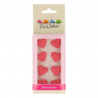 Sugar Decorations - Red Harts - 8pc - funcakes