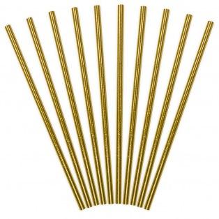 Pailles en papier doré - 10pcs - PartyDeco