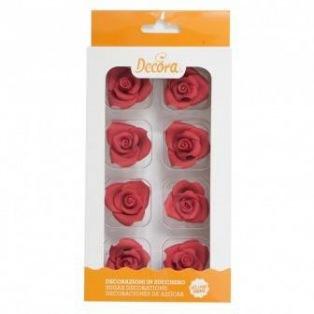 Sugar Decoration - Medium Rose Red - 8pcs - Decora