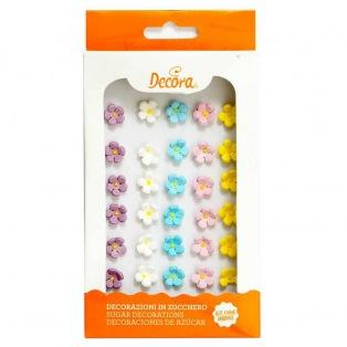 Décorations en sucre - Fleurs pastel - 30pc