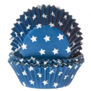 House of Marie Baking Cups Star Blue pk/50
