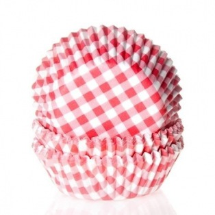 House of Marie Baking cups Gingham Red - pk/50