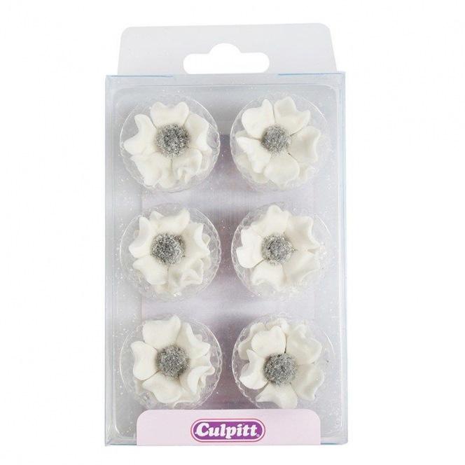 12 White Wild Rose Silver Centres Sugar Decorations Culpitt
