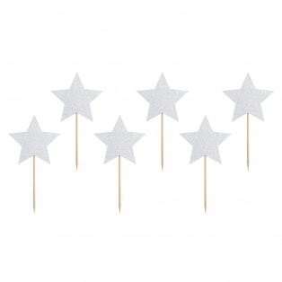 Cupcake Toppers - Silver Stars 6pcs - PartyDeco