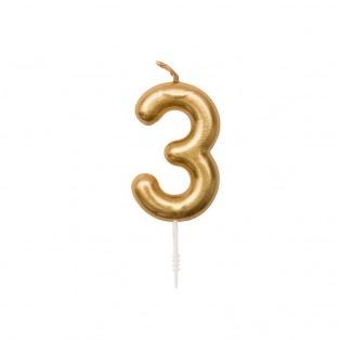 Bougie d'anniversaire Chiffre 3 doré - Rico Design