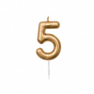 Bougie d'anniversaire Chiffre 5 doré - Rico Design Yey