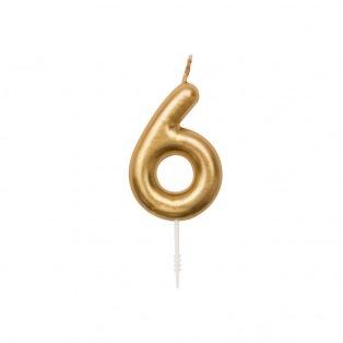 Bougie d'anniversaire Chiffre 6 doré - Rico Design Yey