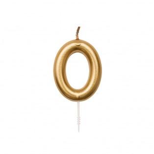 Bougie d'anniversaire Chiffre 0 doré - Rico Design