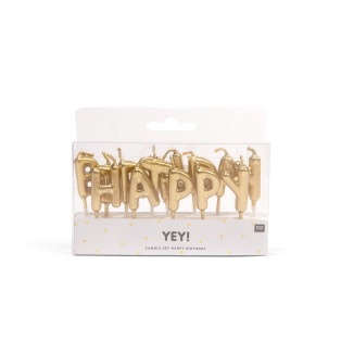 Birthday Candle - Golden Happy Birthday - Rico Design Yey