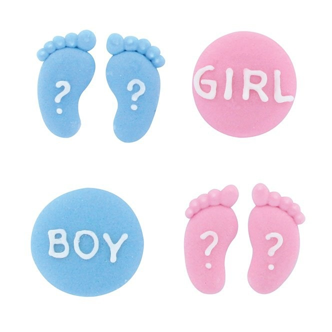 Gender Reveal Sugar Decorations - 12pc - Culpitt